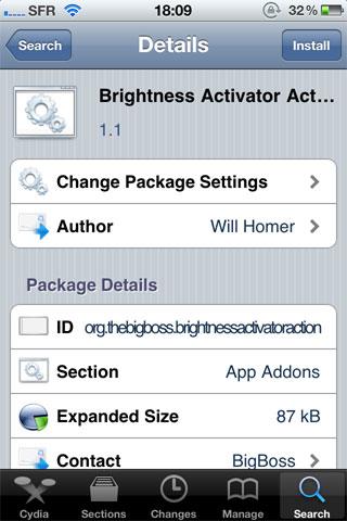 136 Cydia   Brightness Activator Action mis à jour : Contrôler la luminosité avec Activator