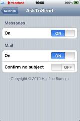 41 160x240 Cydia   AskToSend : Demandez confirmation avant lenvoi dun SMS ou dun mail