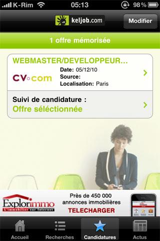 44 AppStore   KelJob : Rechercher un emploi depuis votre iPhone, iPod Touch et iPad