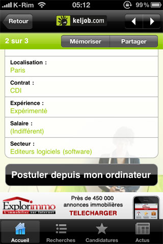 6 AppStore   KelJob : Rechercher un emploi depuis votre iPhone, iPod Touch et iPad