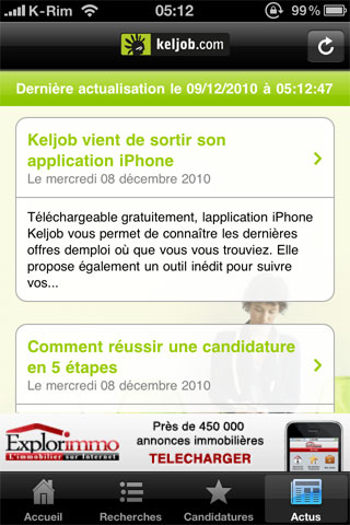 actus AppStore   KelJob : Rechercher un emploi depuis votre iPhone, iPod Touch et iPad
