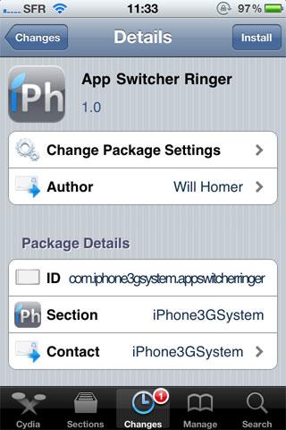 185 Cydia   App Switcher Ringer : Modifier le volume de la sonnerie facilement
