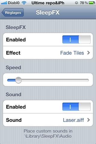 311 Cydia   SleepFX : Une alternative à TV Tube Sleep