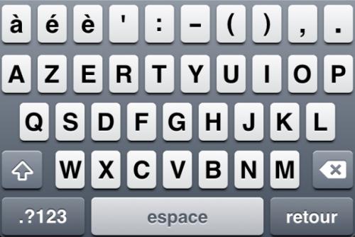 Capture d'écran 2011 01 16 à 15.54.43 500x335 Cydia   5 Row French KeyBoard : Ajouter une 5° ligne à votre clavier