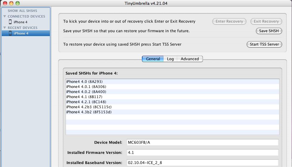 Capture d'écran 2011 01 22 à 00.40.38 News   TinyUmbrella 4.21.04 : Sauvegarder votre SHSH 4.3b2 [EDIT]