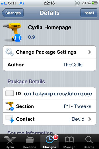 Cydiahomepage Cydia   Cydia Homepage disponible en version 0.9