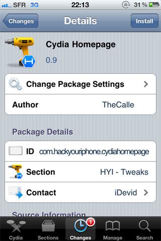 Cydiahomepage Cydia   Cydia Homepage disponible en version 0.9