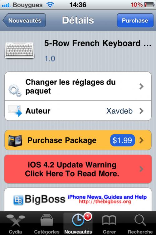 IMG 01281 500x750 Cydia   5 Row French KeyBoard : Ajouter une 5° ligne à votre clavier