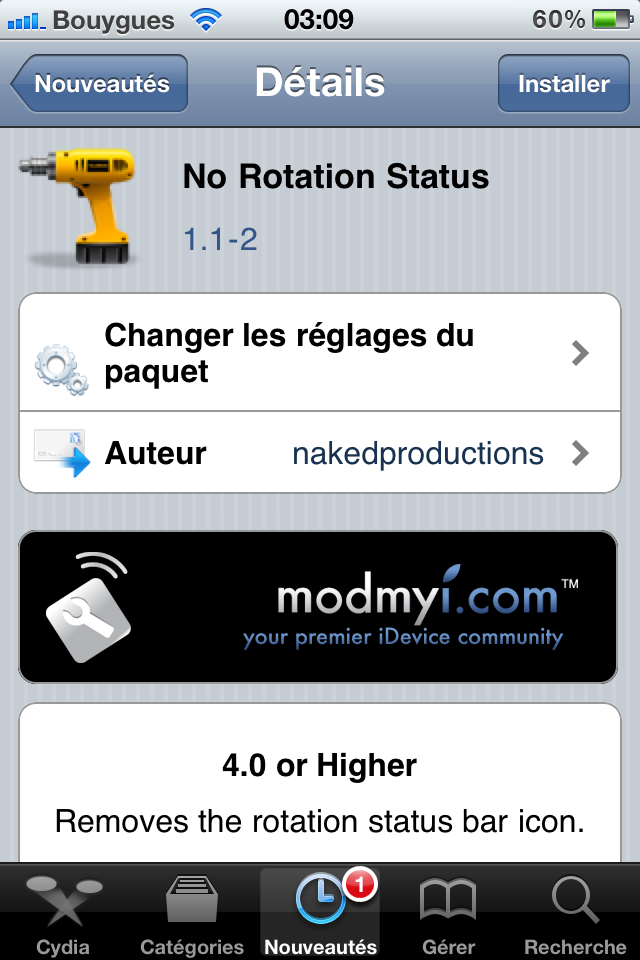 IMG 01671 Cydia   No Rotation Status : Cacher licône No Rotation de la barre de statut