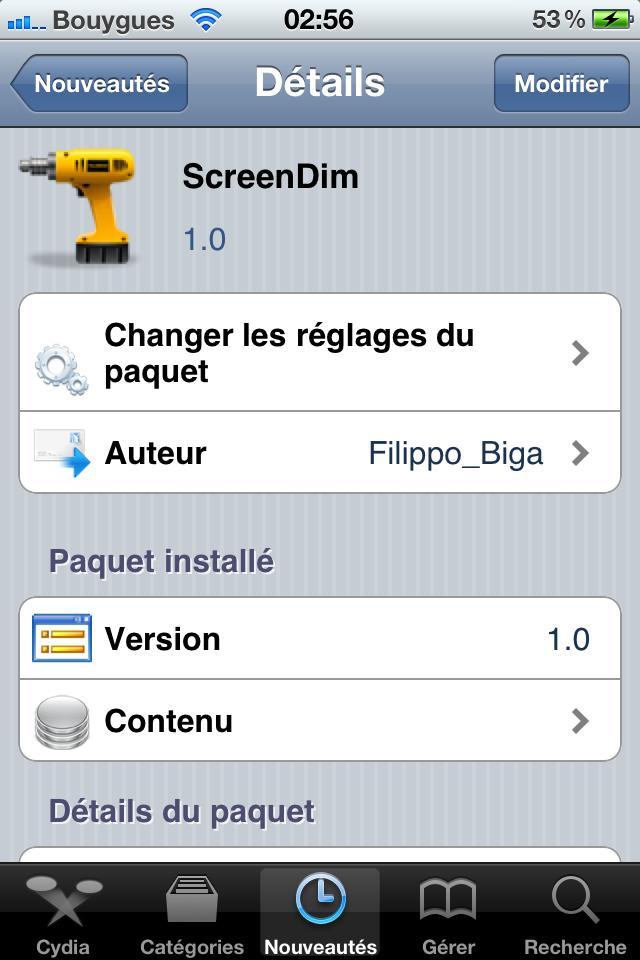 IMG 0220 Cydia   Screendim : Mettre en veille lécran à laide dActivator