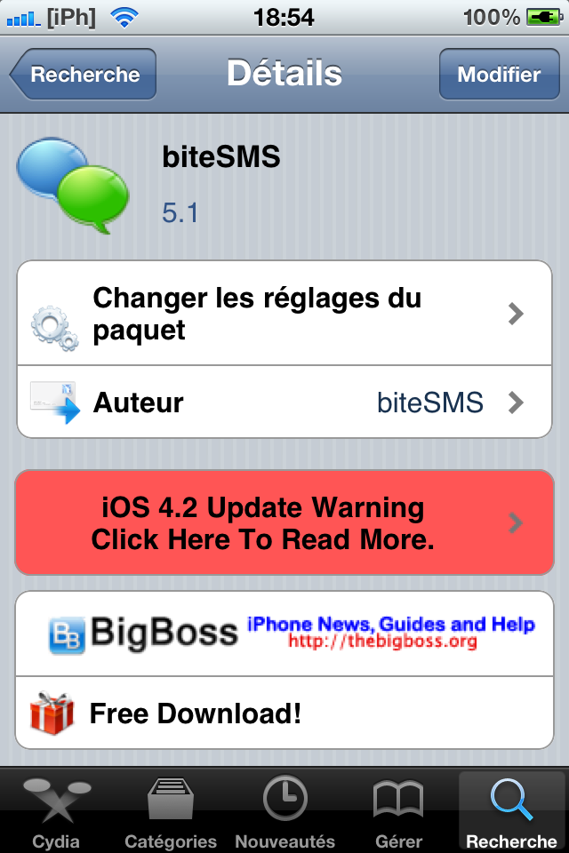 IMG 0259 Cydia   BiteSMS 5.1 disponible !  [CRACK]