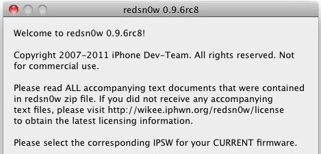 Redsn0w Jailbreak News   RedSn0w 0.9.6rc8 est disponible!