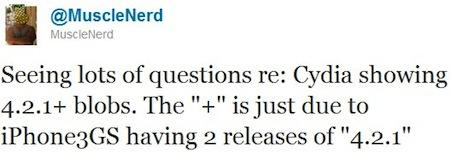 Twitter muscleNerd 5 01 11 Cydia   Signification du signe + ajouté au SHSH 4.2.1 [iPhone 3Gs]