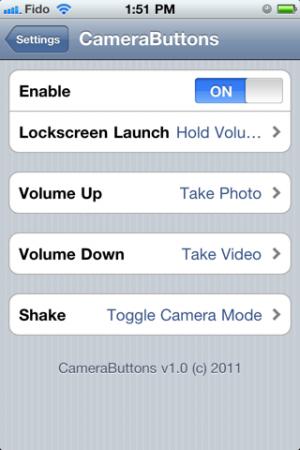 camerabuttons2 300x450 Cydia   CameraButtons : Prendre une photo sans lancer lAPN