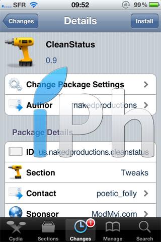 clean1 Cydia   CleanStatus : Personnalisez votre status bar