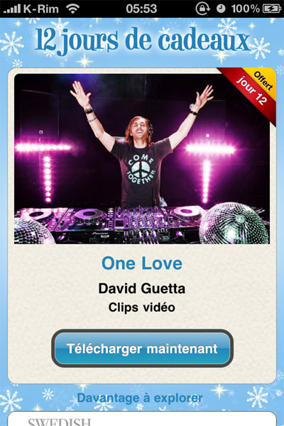 davidguetta 12jourscadeaux News   iTunes : 12 jours de cadeaux : 4 Clips vidéos One Love de David Guetta