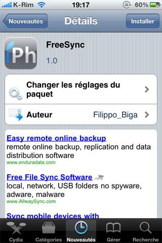 freesync Cydia   FreeSync : Utiliser son iDevice pendant une synchronisation [CRACK]