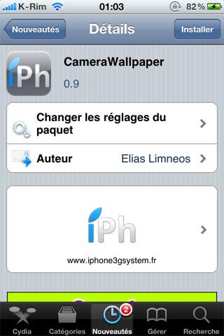 1 Cydia – CameraWallpaper : Quand l'appareil photo devient votre fond d'écran [CRACK]