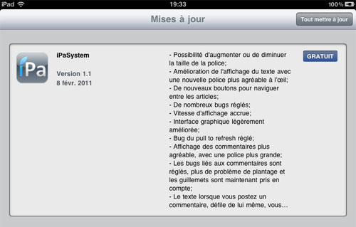 17 AppStore   iPaSystem 1.1 : Lapplication www.iPadSystem.fr mise à jour