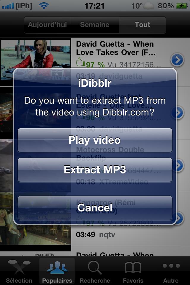 IMG 0377 Cydia   iDibblr : extraire la bande son d'une vidéo Youtube [Dispo sur la repo]