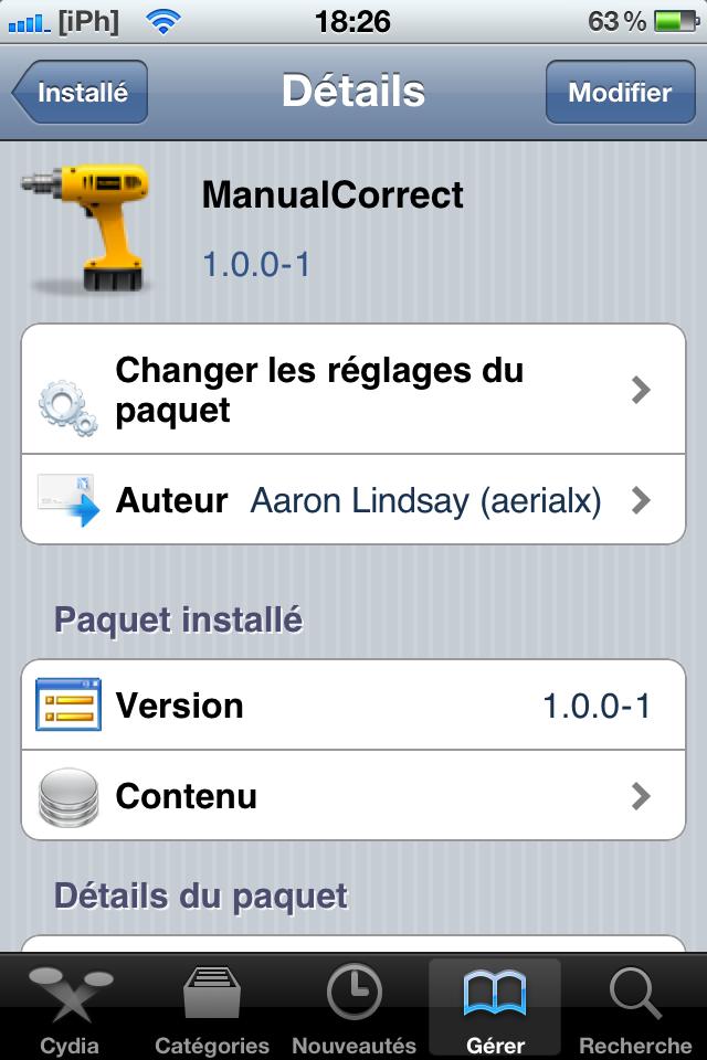 IMG 0385 Cydia   ManualCorrect : modifiez la configuration de lauto correction