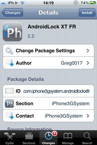 androidfr Cydia   AndroidLock XT 2.2 disponible en version française