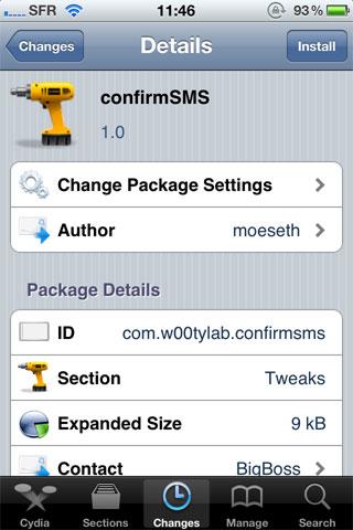 confir Cydia   ConfirmSMS : Confirmez avant denvoyer vos SMS