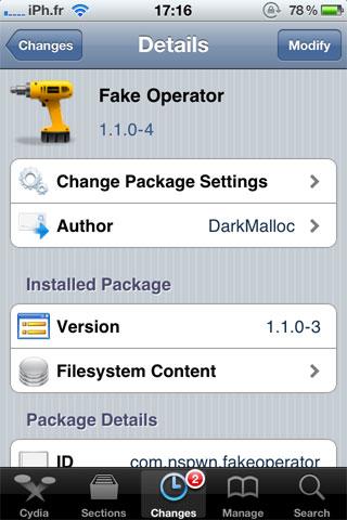 famkeoper Cydia   FakeOperator passe en version 1.1.0 4