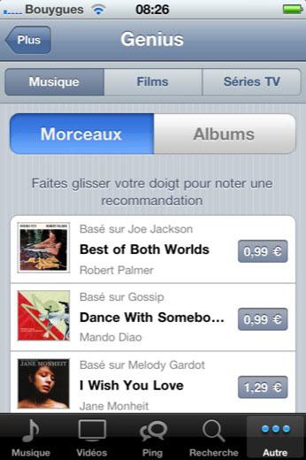 geniusIOS News   La fonctionnalité Genius disponible dans iTunes iOS