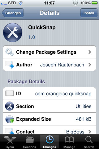 icksnap Cydia   QuickSnap : Prenez des photos sans les enregistrer