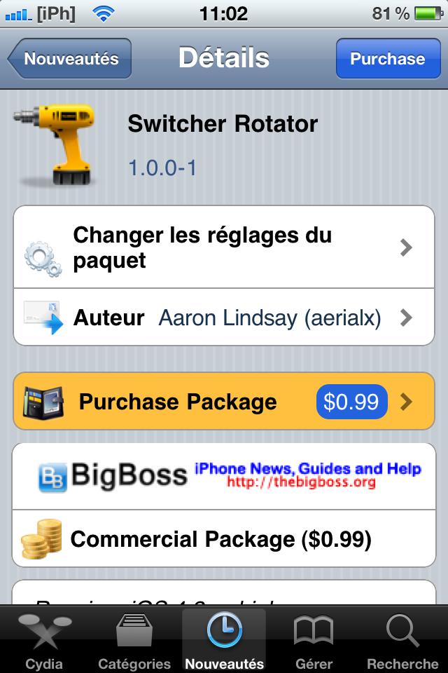 image Cydia   Switcher Rotator : mettre la barre multitâche en mode horizontal (landscape) [Dispo sur la repo]