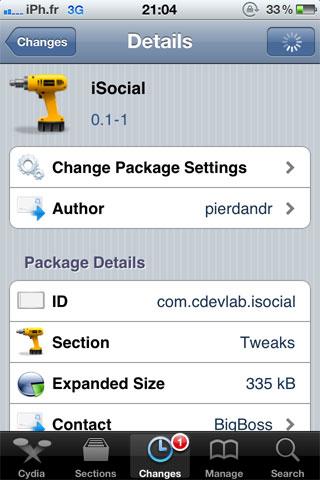 isocial Cydia   iSocial : Uploadez vos photos directement sur Facebook et Twitter