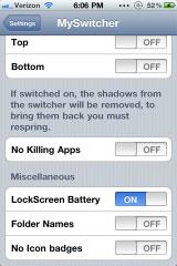 myswitcher2 Cydia   MySwitcher : Personnalisez totalement la barre multitâche