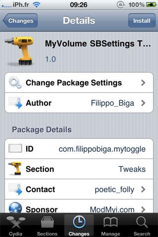 myvolumetoogle Cydia   MyVolume SBSettings Toggle disponible