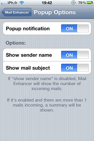 popup Cydia   Mail Enhancer : Améliorez lapplication Mail [Dispo sur la repo]