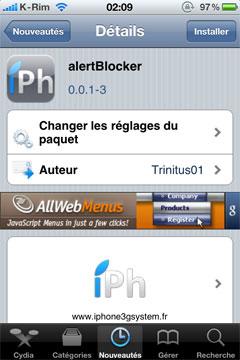 121 Cydia   alertBlocker : Bloquer les popup et badges des applications natives de liOS