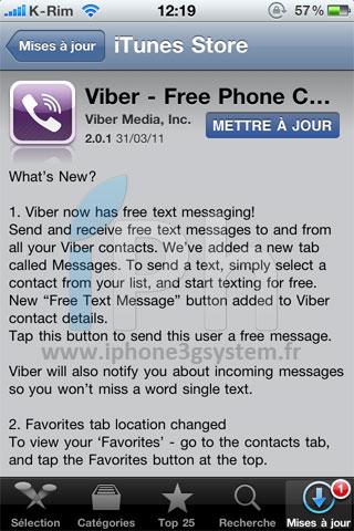 133 AppStore   Viber : Mise à jour, correction des bugs + Messagerie Push