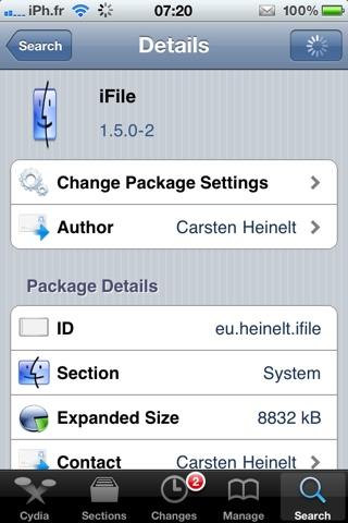 20110329 072024 Cydia   iFile passe en version 1.5.0 2