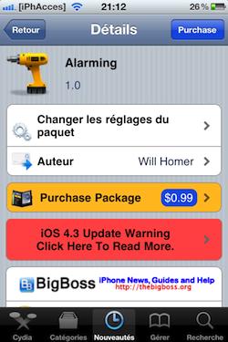 IMG 0989 Cydia   Alarming : réveillez vous à tous les coups.