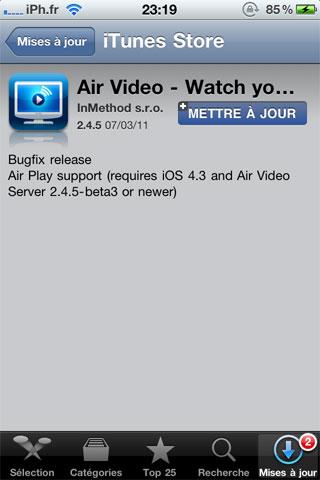 airvideo AppStore   Air Video passe en version 2.4.5