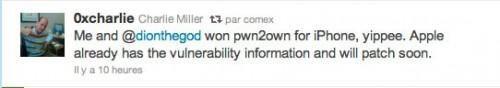 charliemiller 500x88 Jailbreak News   La faille de i0n1c ne sortira pas avant le firmware 4.3.1