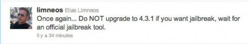 donotupgeade 500x89 Jailbreak News   Ne mettez pas à jour vos appareils en 4.3.1