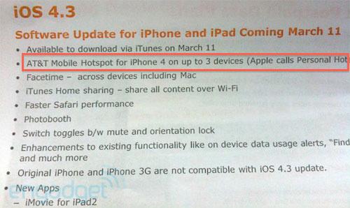 hot News – Le Hotspot wifi de l'IOS 4.3 limité par les opérateurs ?