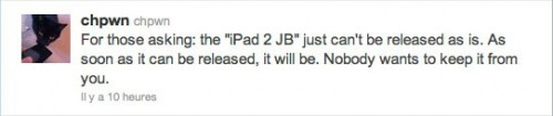 jbipad24.3.1 500x105 Jailbreak News   chpwn donne des nouvelles du jailbreak de liPad 2