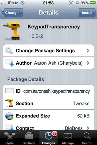 kbtransp Cydia   KeyPadTransparency : Une petite protection en plus pour votre appareil