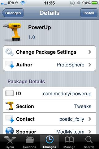 powerup Cydia   PowerUp : Gérez lextinction de votre appareil via Activator