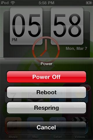 powrupmenu Cydia   PowerUp : Gérez lextinction de votre appareil via Activator