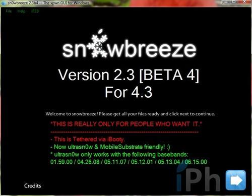 sn0wbreeze2.3b4 Jailbreak News   Sn0wbreeze se met à jour en version 2.3 bêta 4