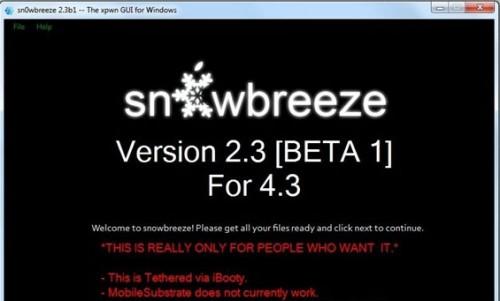 snowbreze2.3 500x301 Jailbreak News   Sn0wBreeze passe en version 2.3 beta 2