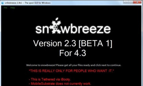 snowbreze2.3 500x301 Jailbreak News   Sn0wBreeze passe en version 2.3 beta 2